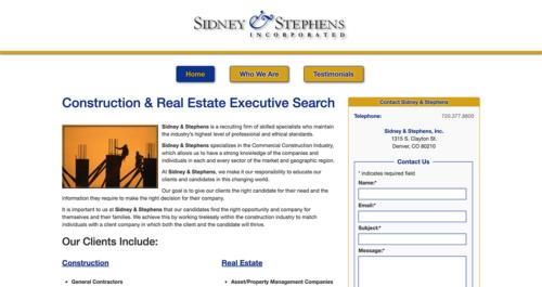 Sidney & Stephens Website Desktop