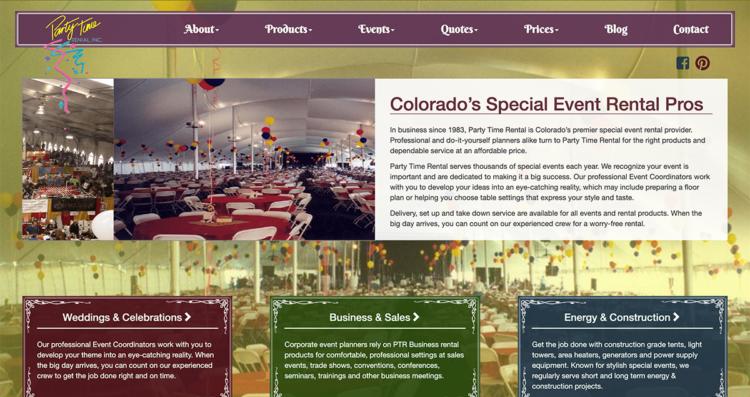 Party Time Rental 2016 Website Desktop
