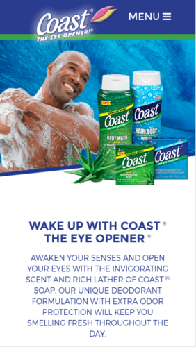 Coast Soap Website Mobile