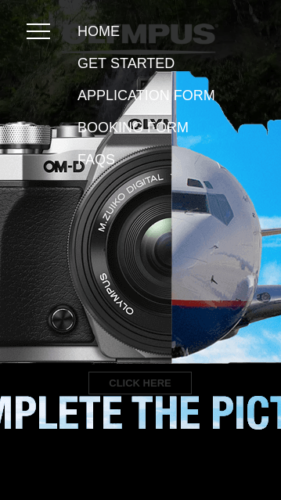 Olympus EM5 Promotion Website Mobile Menu