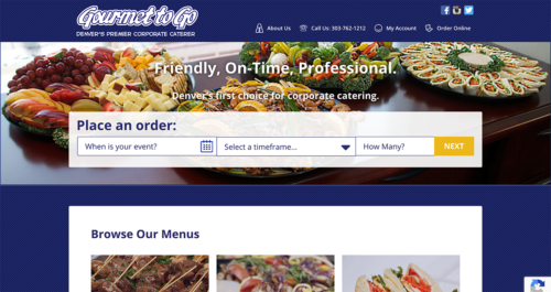 Gourmet To Go Website Desktop