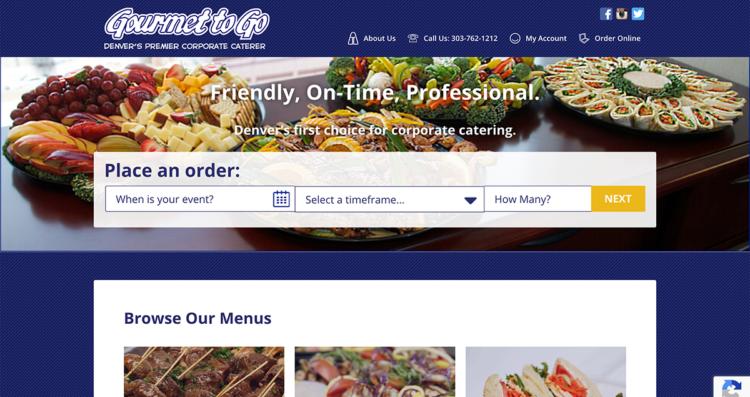 Gourmet To Go Website Desktop