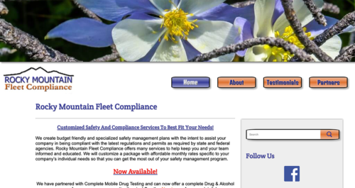 Rocky Mountain Fleet Compliance Website Desktop