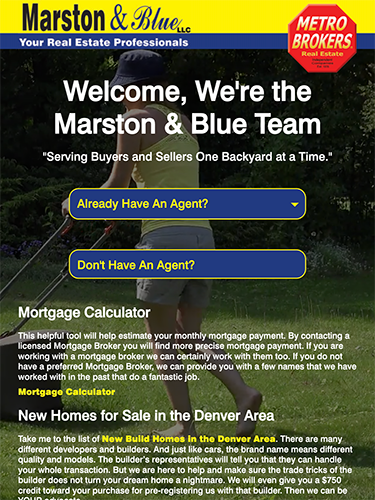 Marston & Blue Real Estate Website Tablet Portrait