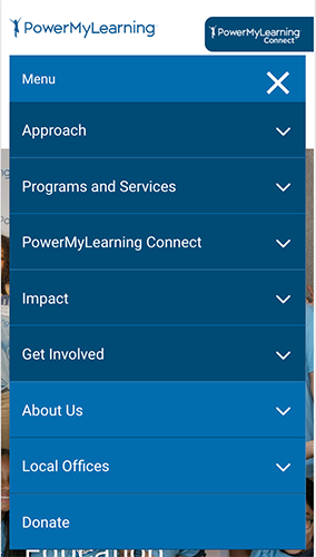 Power My Learning Website Mobile Menu