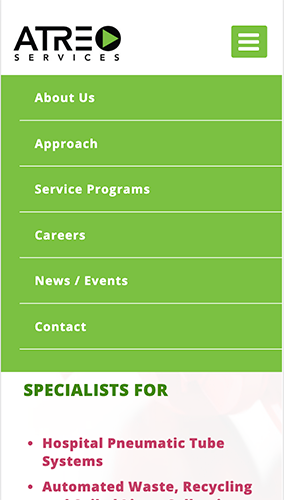Atreo Services Website Mobile Menu