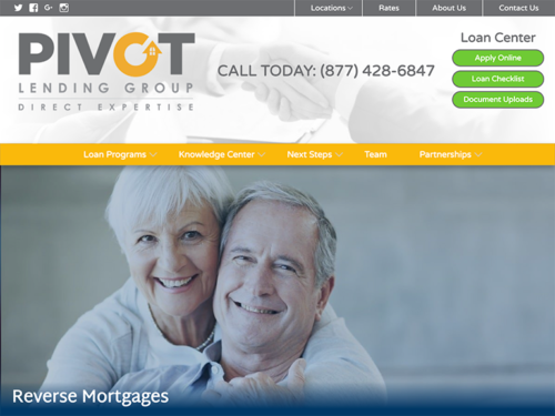 Pivot Lending Group Website Tablet Landscape