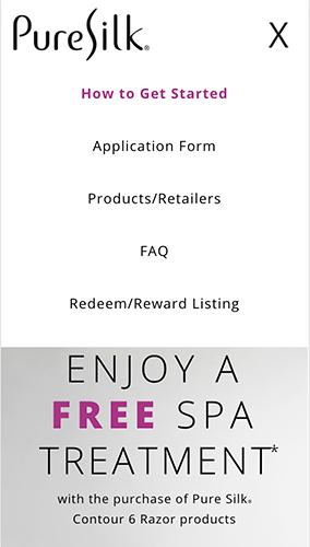 Pure Silk Razor Promotion Microsite Mobile Menu
