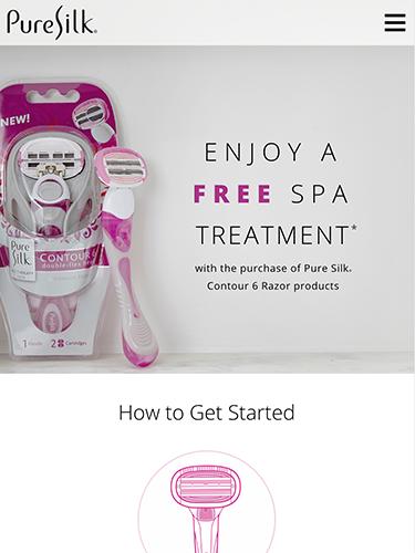 Pure Silk Razor Promotion Microsite Tablet Portrait