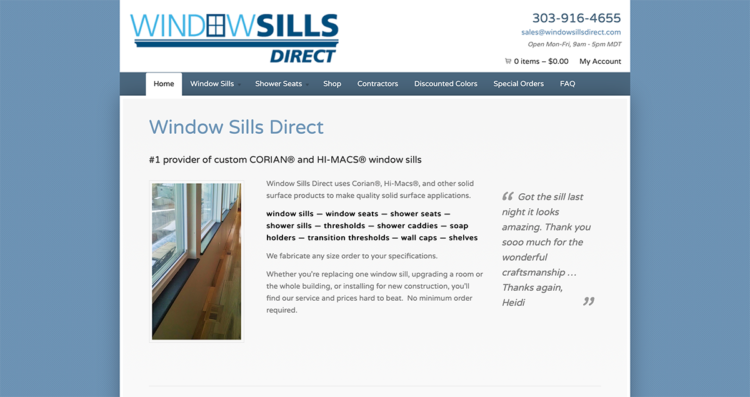 Window Sills Direct Website Desktop