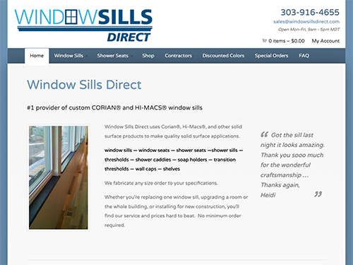 Window Sills Direct Website Tablet Landscape