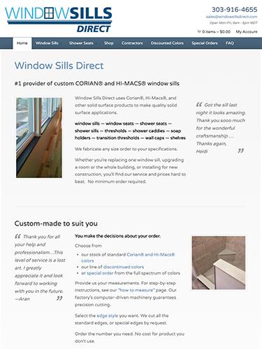 Window Sills Direct Website Tablet Portrait