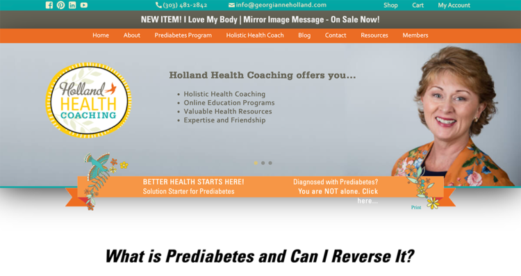 Holland Health Coaching Website Desktop