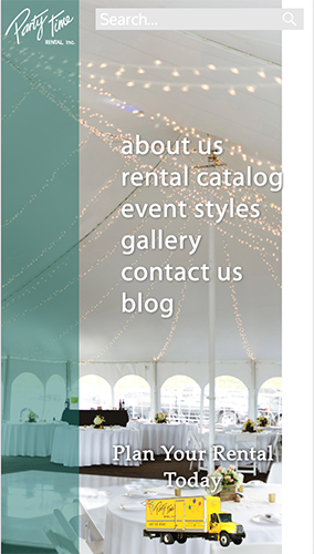 Party Time Rental Website Mobile
