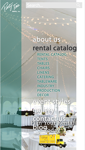 Party Time Rental Website Mobile Menu