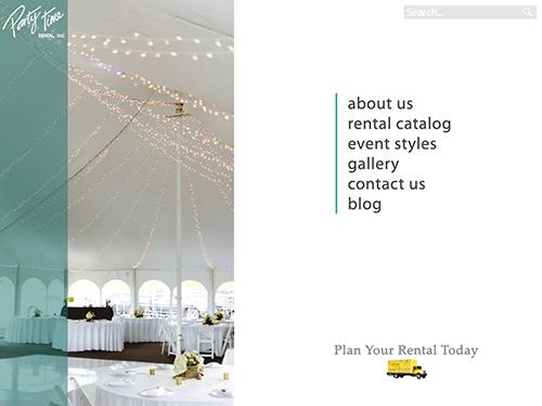 Party Time Rental Website Tablet Landscape