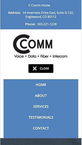 C-Comm Website Mobile Menu