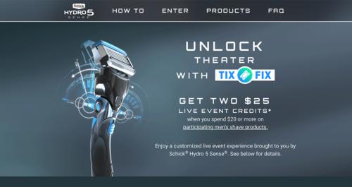 Schick Hydro5 Promotion Microsite Desktop