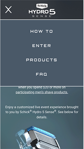 Schick Hydro5 Promotion Microsite Mobile Menu
