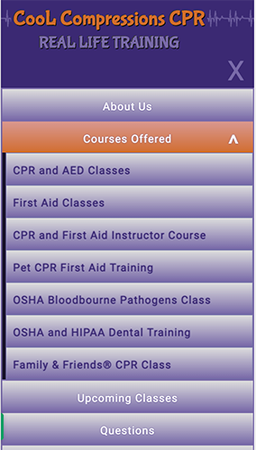 Cool Compressions CPR Website Mobile Menu