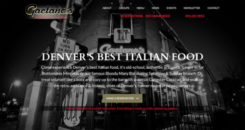 Gaetano's Italian Restaurant Website Desktop