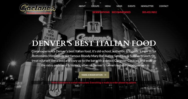 Gaetano's Italian Restaurant Website Desktop