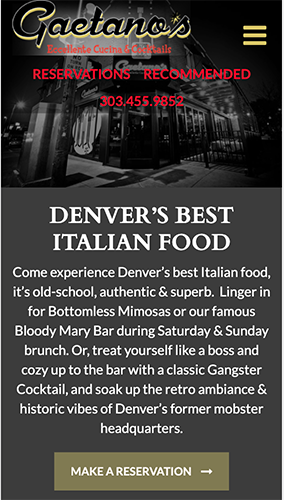 Gaetano's Italian Restaurant Website Mobile