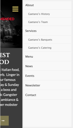 Gaetano's Italian Restaurant Website Mobile Menu