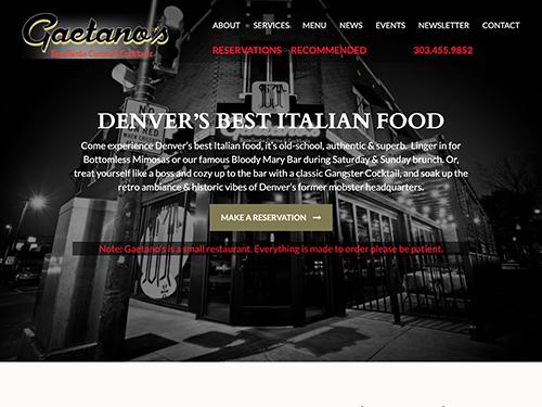 Gaetano's Italian Restaurant Website Tablet Landscape
