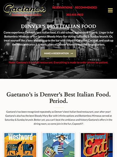 Gaetano's Italian Restaurant Website Tablet Portrait