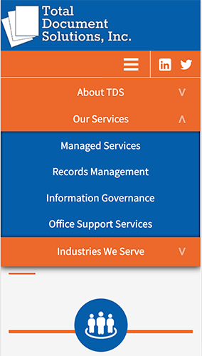 Total Document Solutions Website Mobile Menu