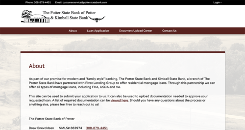 Potter State Bank Microsite Desktop