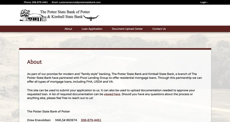 Potter State Bank Microsite Desktop