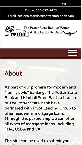 Potter State Bank Microsite Mobile