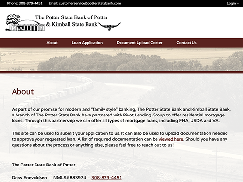 Potter State Bank Microsite Tablet Landscape