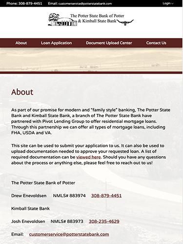 Potter State Bank Microsite Tablet Portrait
