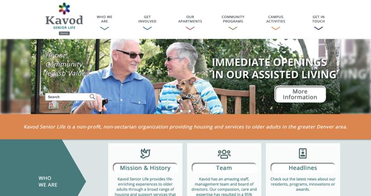 Kavod Senior Life Website Desktop