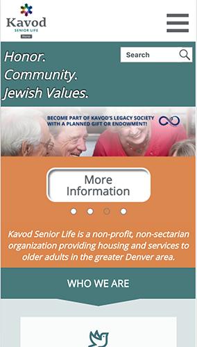 Kavod Senior Life Website Mobile