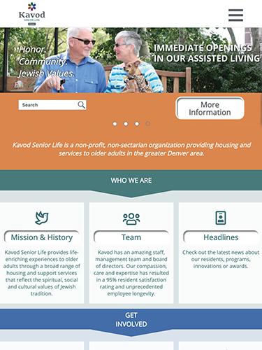 Kavod Senior Life Website Tablet Portrait