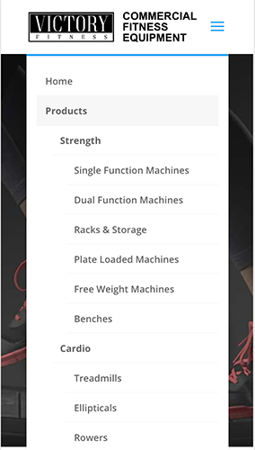 Victory Fitness Website Mobile Menu