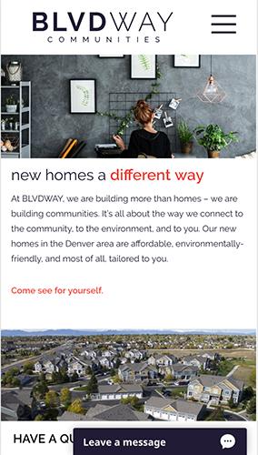 BLVDWAY Communities Website Mobile