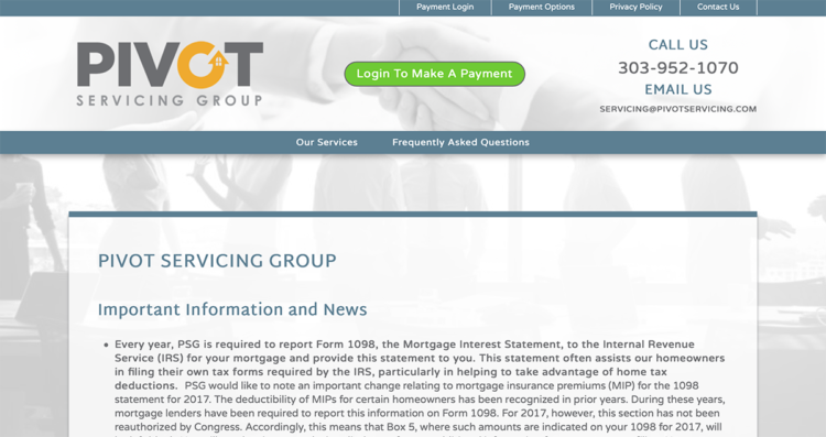Pivot Servicing Group Website Desktop