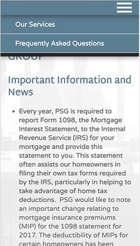 Pivot Servicing Group Website Mobile Menu