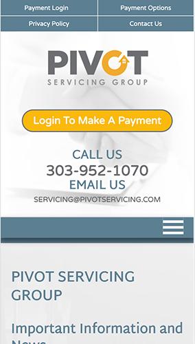 Pivot Servicing Group Website Mobile