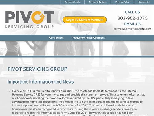 Pivot Servicing Group Website Tablet Landscape