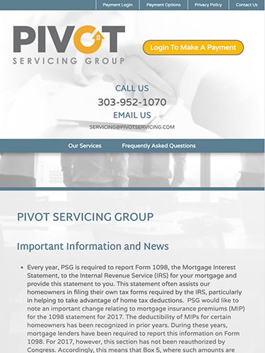 Pivot Servicing Group Website Tablet Portrait