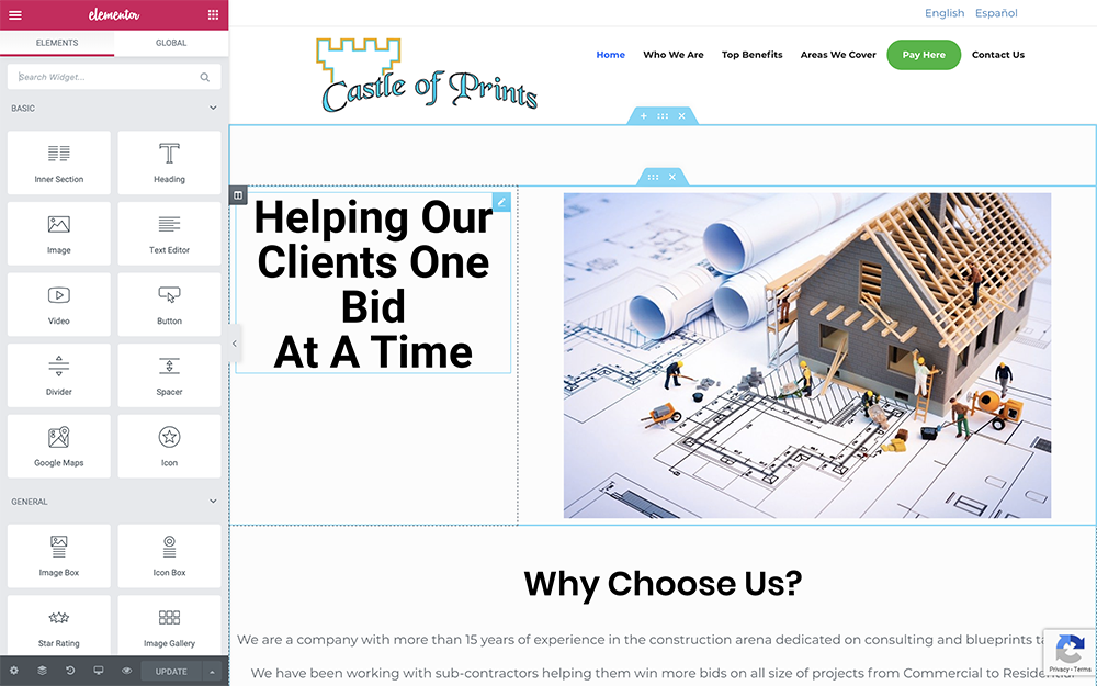 Castle of Prints Elementor Edit Page in Spark Theme