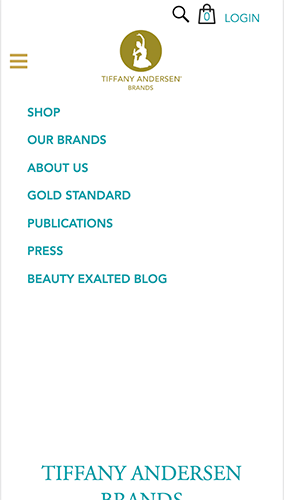 Tiffany Andersen Brands Website Mobile Menu