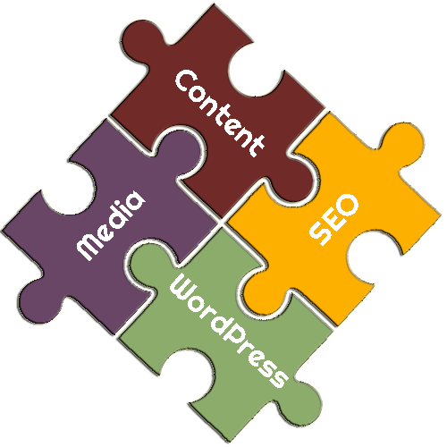 WordPress Content, Media and SEO Services Puzzle Pieces