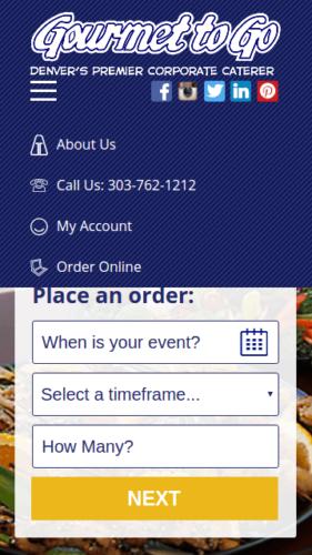 Gourmet To Go Website Mobile Menu